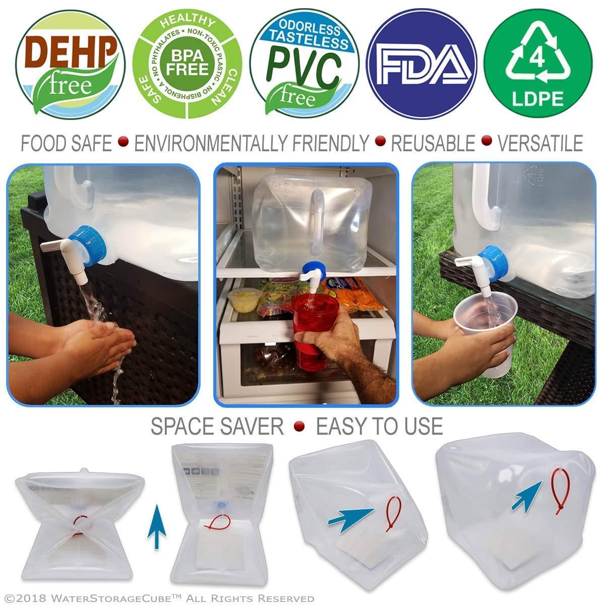 Contenedor de agua de grado alimenticio port/átil y plegable sin bisfenol ideal para el transporte y almacenamiento de agua para uso en exteriores barbacoas acampadas senderismo escalada etc 10L//2.5Gal