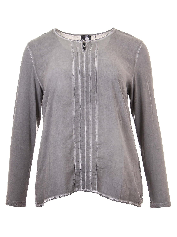 Langarmshirt mit Zierfalten in grau in Übergrößen (42, 44, 46, 48, 50, 52) von Frapp