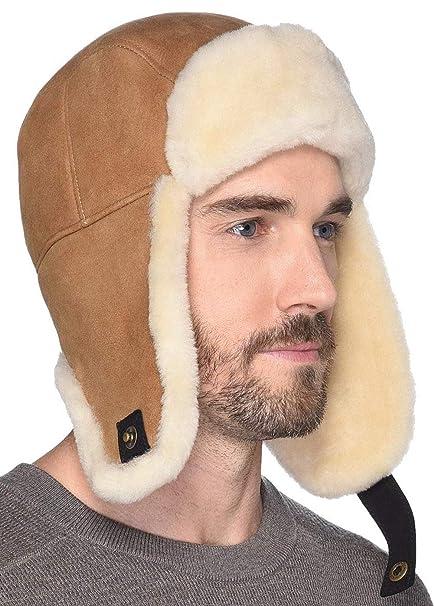 59b104379c047 UGG Mens Sheepskin Trapper Hat at Amazon Men s Clothing store