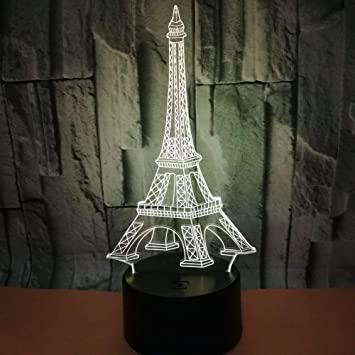 Bright Eiffel Tower Desk Table Lamp 7 Color Changing Mood Light Decoration Night Light Christmas Table LED Lamp Great Gift