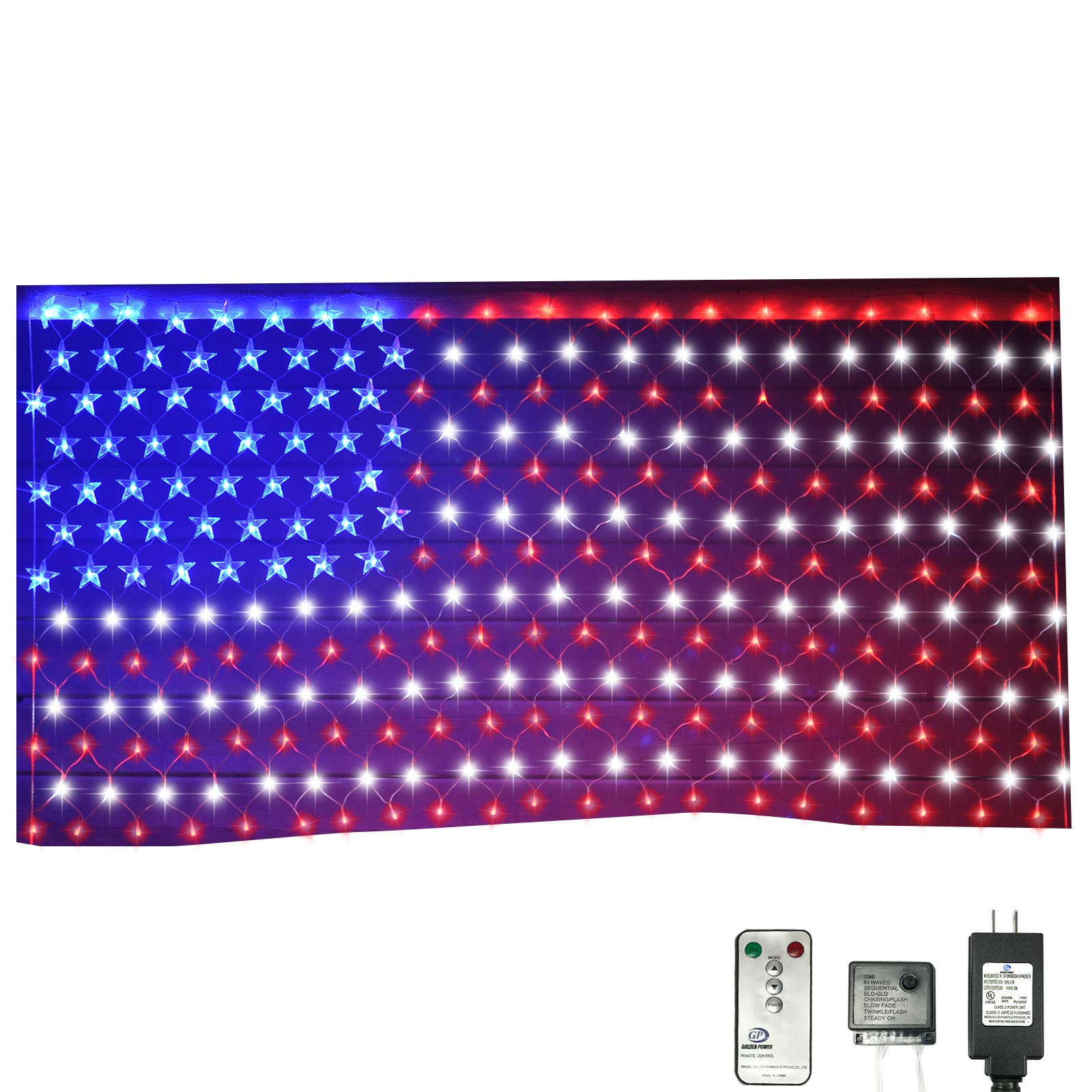 Russell Decor Patriotic decor Memorial Day USA Flag Net Lights Independence Day 4th of July Stars and Stripes Wireless Remote Control Yard Garden Decoration Low voltage 24V