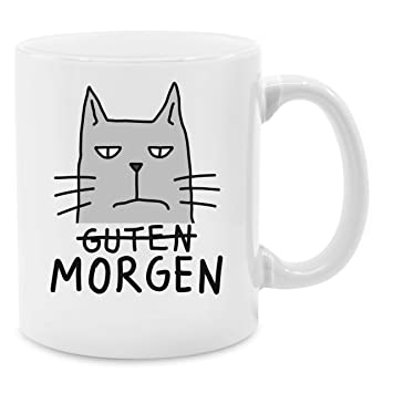 Tasse Mit Spruch Guten Morgen Katze Unisize Weiß Q9061 Kaffee Tasse Inkl Geschenk Verpackung