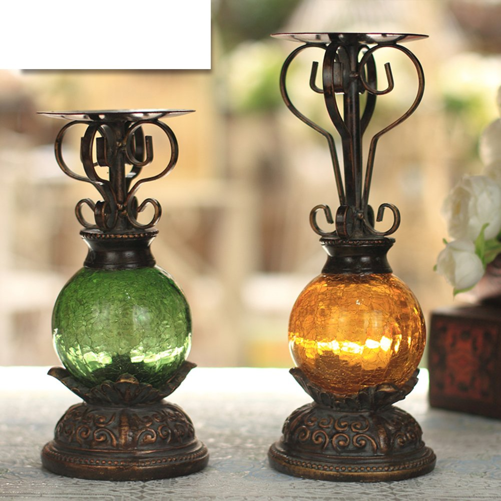Iron Stained Glass Candle Holders Two-Piece