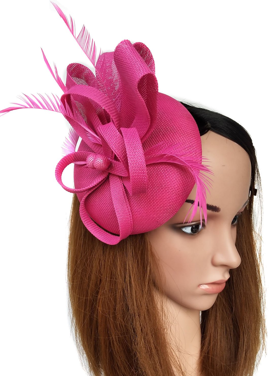 Coolwife Fascinators Sinamay Hat Womens Feather Pillbox Derby Tea Party Hat (Rose Red)