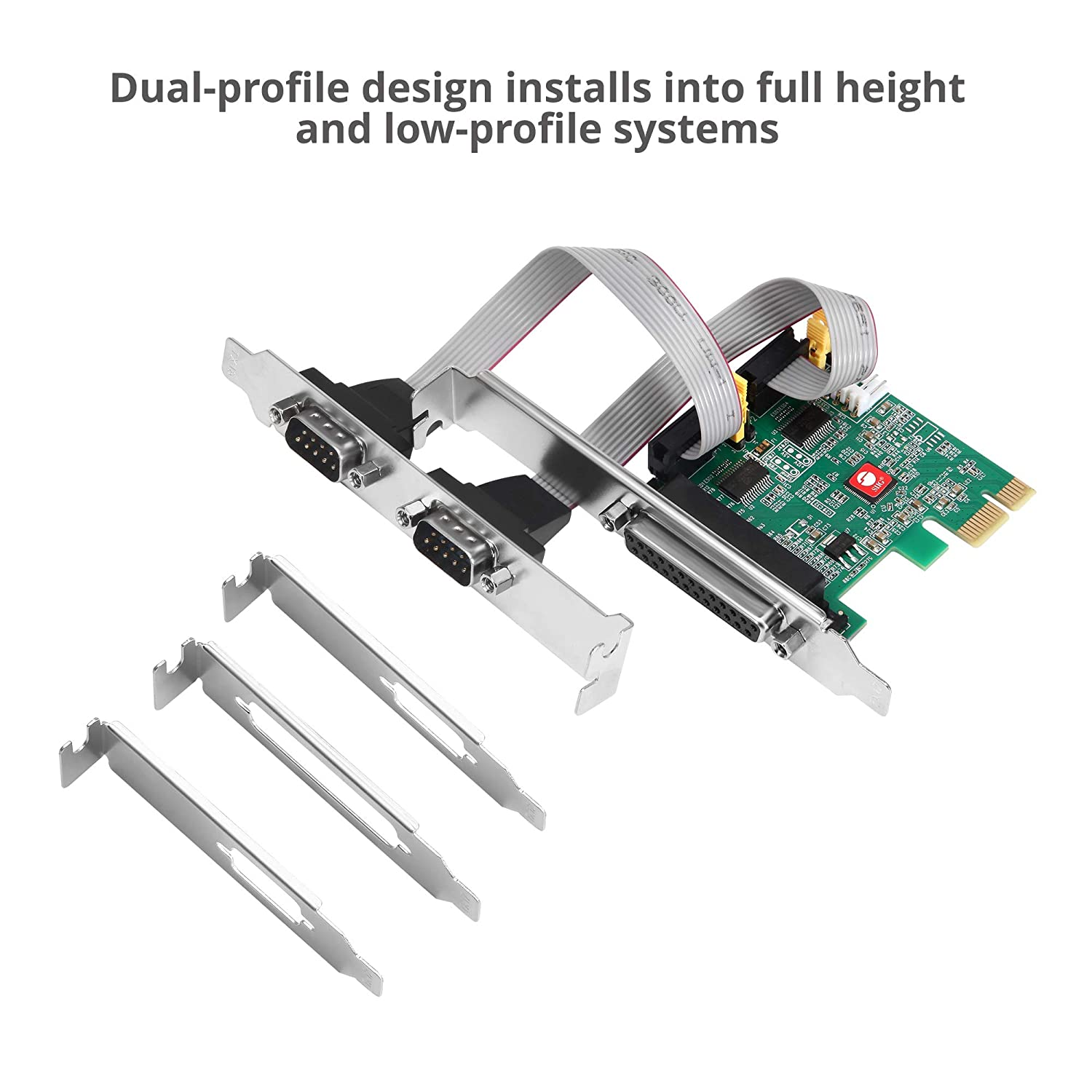2 JJ-E20411-S1 SIIG Dual Parallel Port PCIe Card Compatible with 16C550 UART Serial Port//RS-232 and Single 1