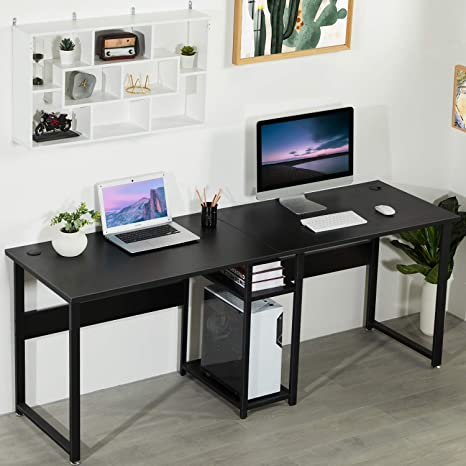 Amazon Com Sedeta Two Person Desk Double Workstation Desk 78 Inches Computer Desk With Storage Extra Large Home Office Desk Multifunction Writing Desk With Shelf Black Kitchen Dining