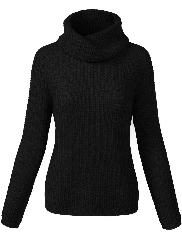 Lightweight Batwing Turtle Neck Knit Sweaters, 006 Black, S