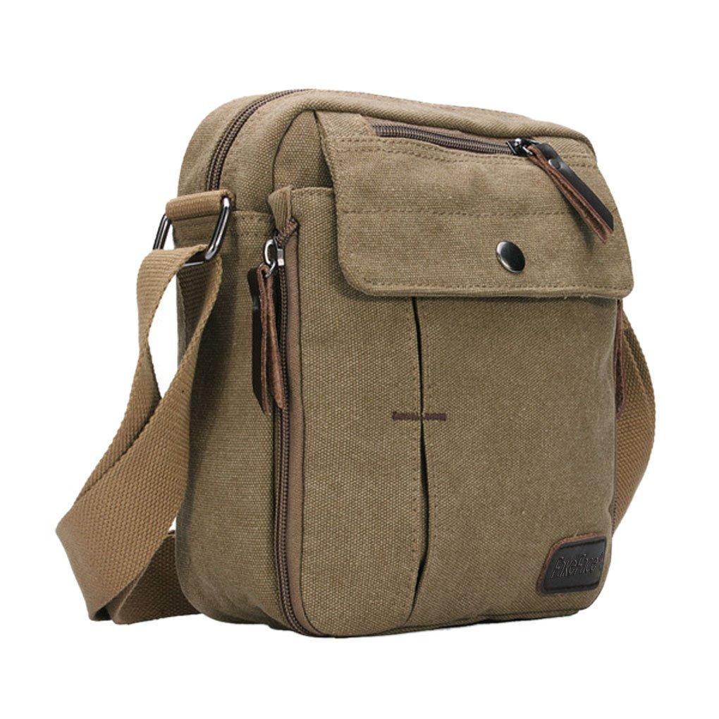 JIAHG Men Boys Canvas Vintage Messenger Bag Cross Body Bag Pack Satchel Bag Sling Shoulder Bag Rucksack