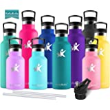 KollyKolla Metal Water Bottle Vacuum Insulated Water Bottles with Straw & Filter Hot & Cold Drinks Bottle Stainless Steel Thermos Flask Leakproof Kids for Gym,Cycling,Football,350ml/500ml/600ml/750ml