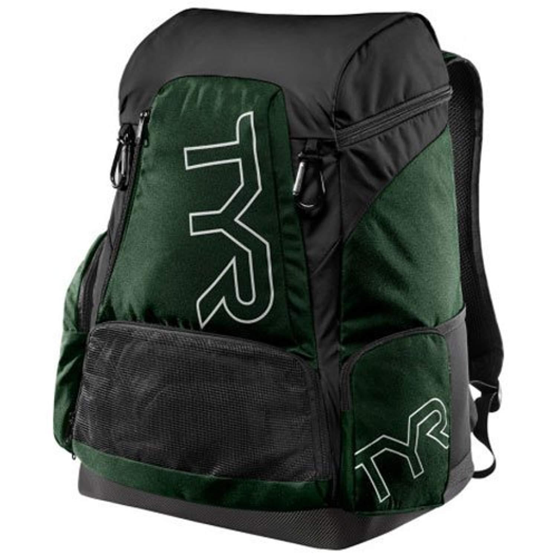 Swim Bundle: TYR Alliance 45L Backpack Evergrn All & Swimming Earplugs by Competition Swimwear