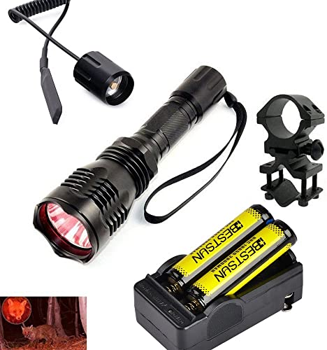 BESTSUN Predator Hunting Varmint Light Red LED Tactical Flashlight Waterproof 350 Yards Coyote Hog Hunting Light Kits with Pressure Switch, Barrel Rail Rifle Mount,18650 Batteries,Charger