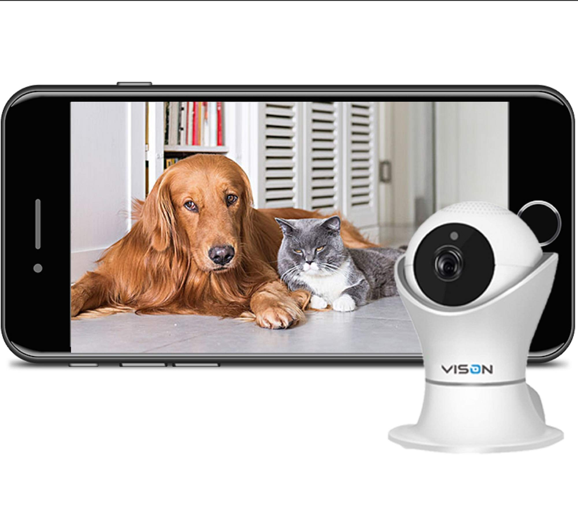 FullHD 1080p WiFi Home Security Camera Pet Camera Wireless IP Indoor Surveillance System Pan/Tilt/Zoom with 2 Way Audio Night Vision Motion Detection Remote Baby Monitor iOS/Android by VINSION