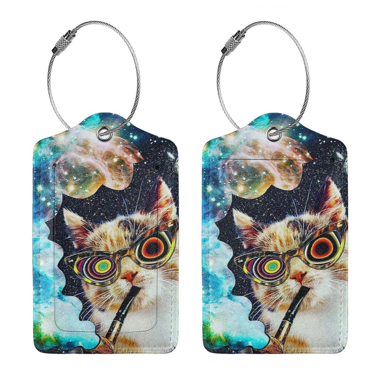 Travel Luggage Tags PU Leather Bag Tags Suitcase Baggage Label Handbag Tag With Full Back Privacy Cover Steel Loops Space Cat With Glasses Smoking set of 4
