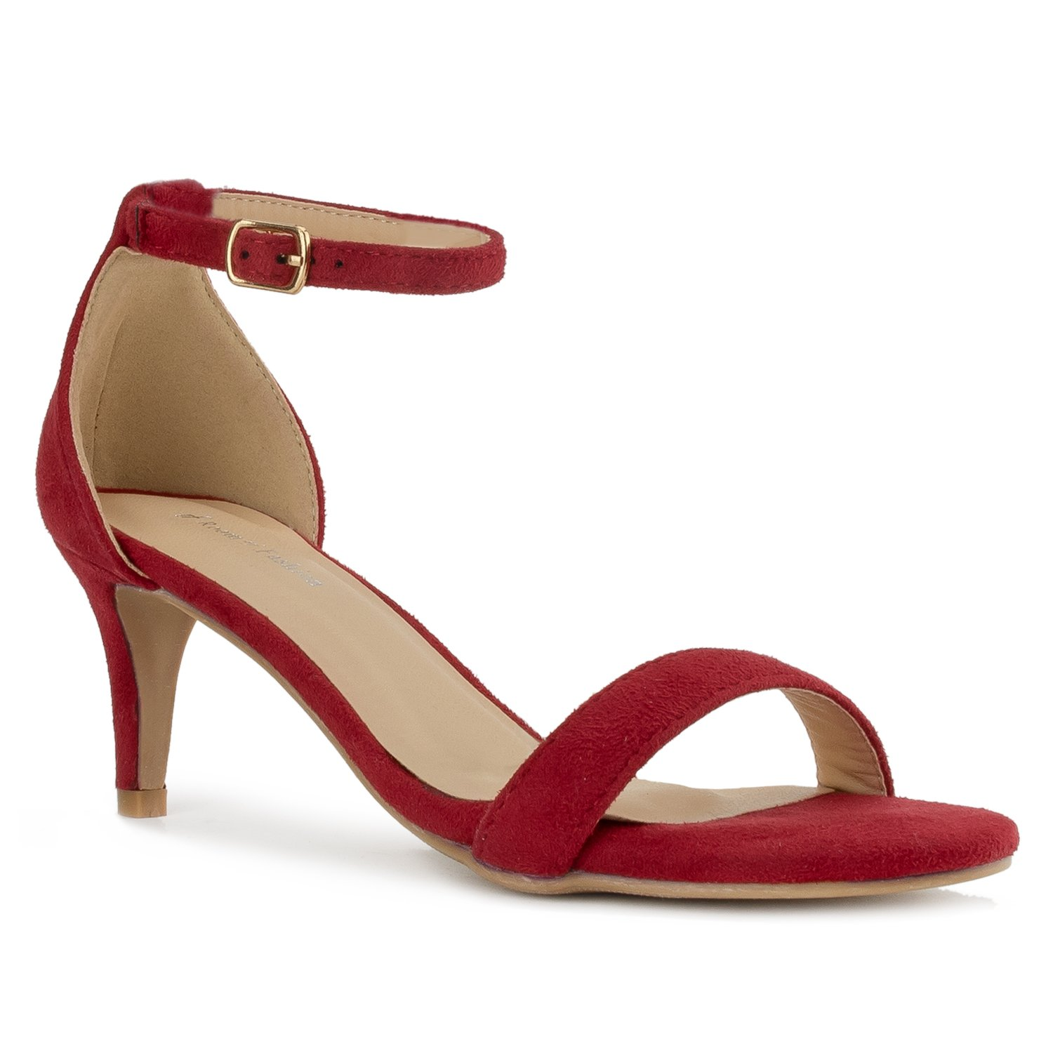 RF ROOM OF FASHION Fashion D'Orsay Ankle Strap Kitten Heel Dress Sandal - Essential Mid Heel Open Toe Vegan Pumps - RED SU (7)