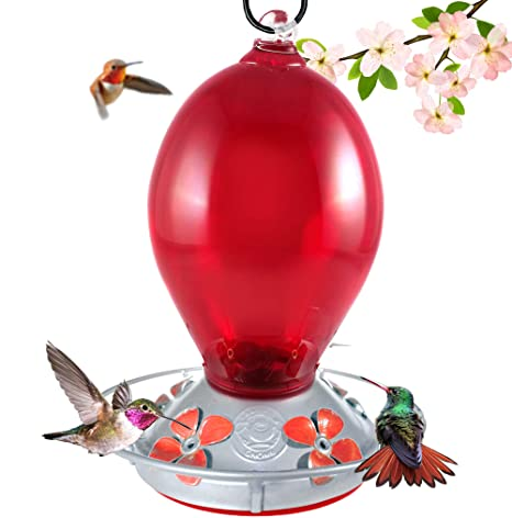 Grateful Gnome Hummingbird Feeder Hand Blown Glass Red Egg 28 Fluid Ounces