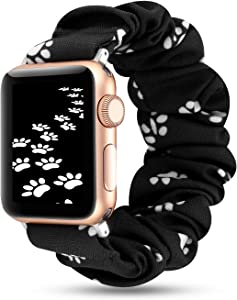 YOSWAN Scrunchie Elastic Watch Band Compatible for Apple Watch Band 38mm 42mm Women Girls Cloth Hair Rubber Band Strap Bracelet for iwatch SE Series 6 5 4 3 2 1 (Dog Paw Print Black, 38mm/40mm)