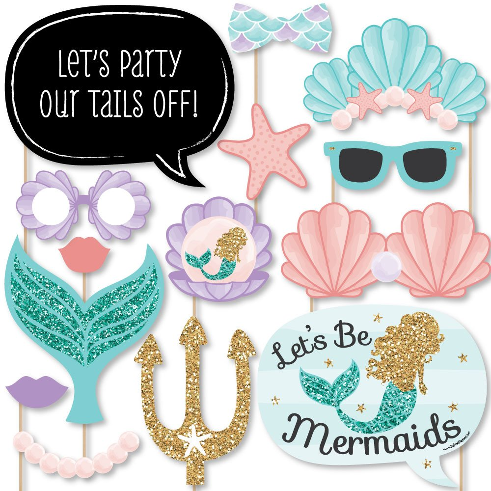 Big Dot of Happiness Let's Be Mermaids - Baby Shower or Birthday Party Photo Booth Props Kit - 20 Count