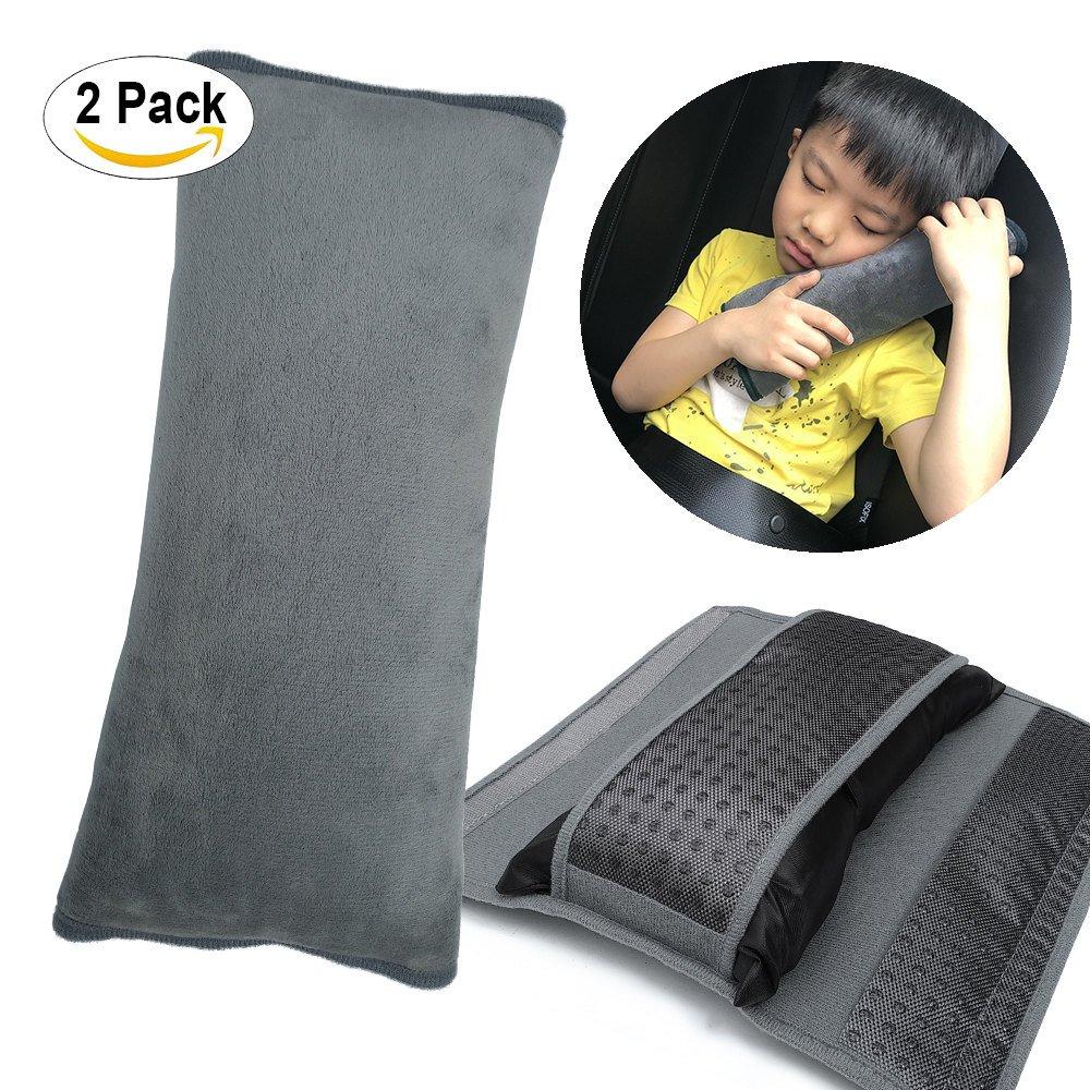 Kids Seatbelt Pillow, ILIVABLE Universal Car Safety Belt Shoulder Pad Neck Protector Plush Vehicle Non-Slip Seat Belt Cover for Child, Adult Travel (Black, 1 Pack)