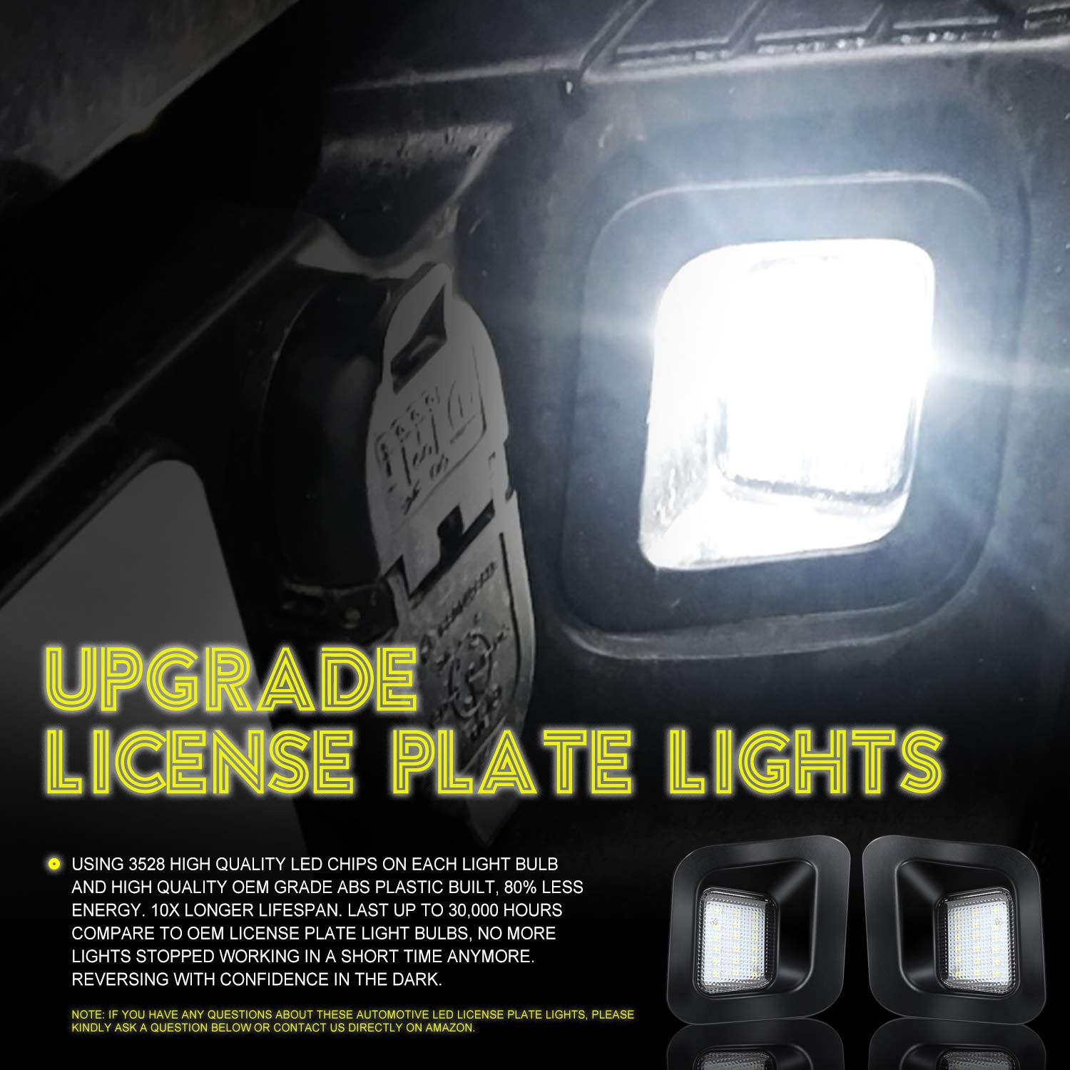 CAR ROVER Full LED License Plate Light Lamp Assembly Replacement for Ford F-150 F-250 F-350 F-450 F-550 Superduty Ranger Pickup Truck Explorer Bronco Excursion Expedition 6500K, 2 Pack