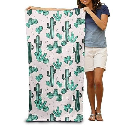 """Wellay Toalla de Baño Verde Cactus Plantas Estampado Suave Toalla de Playa 31""""x 51"""""""