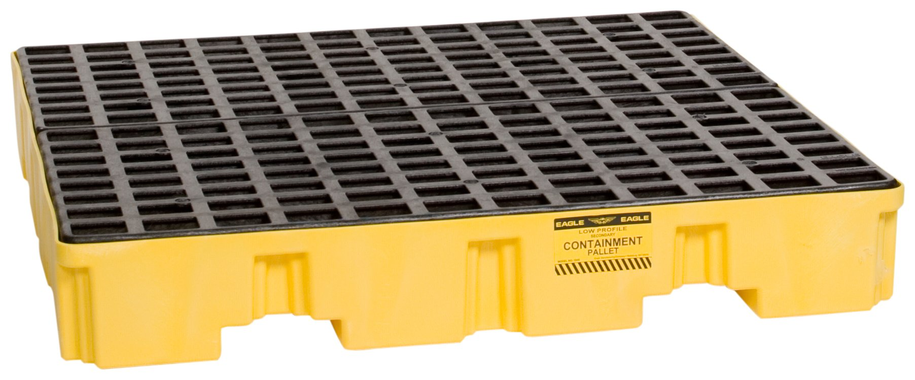 Eagle 1645 Yellow and Black Polyethylene 4 Drum Low Profile Spill Containment Pallet with Flat Top Grating, 8000 lbs Load Capacity, 51.5'' Length, 51.5'' Width, 8'' Height