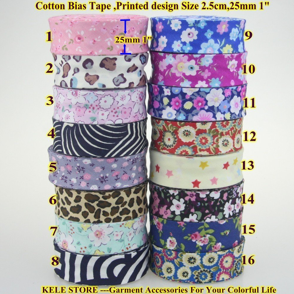 20mm FLOWERS COTTON BIAS TAPE