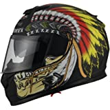 Triangle Motorcycle Street Bike Dual Visor Helmets DOT Approved (Indian Yellow, X-Large)