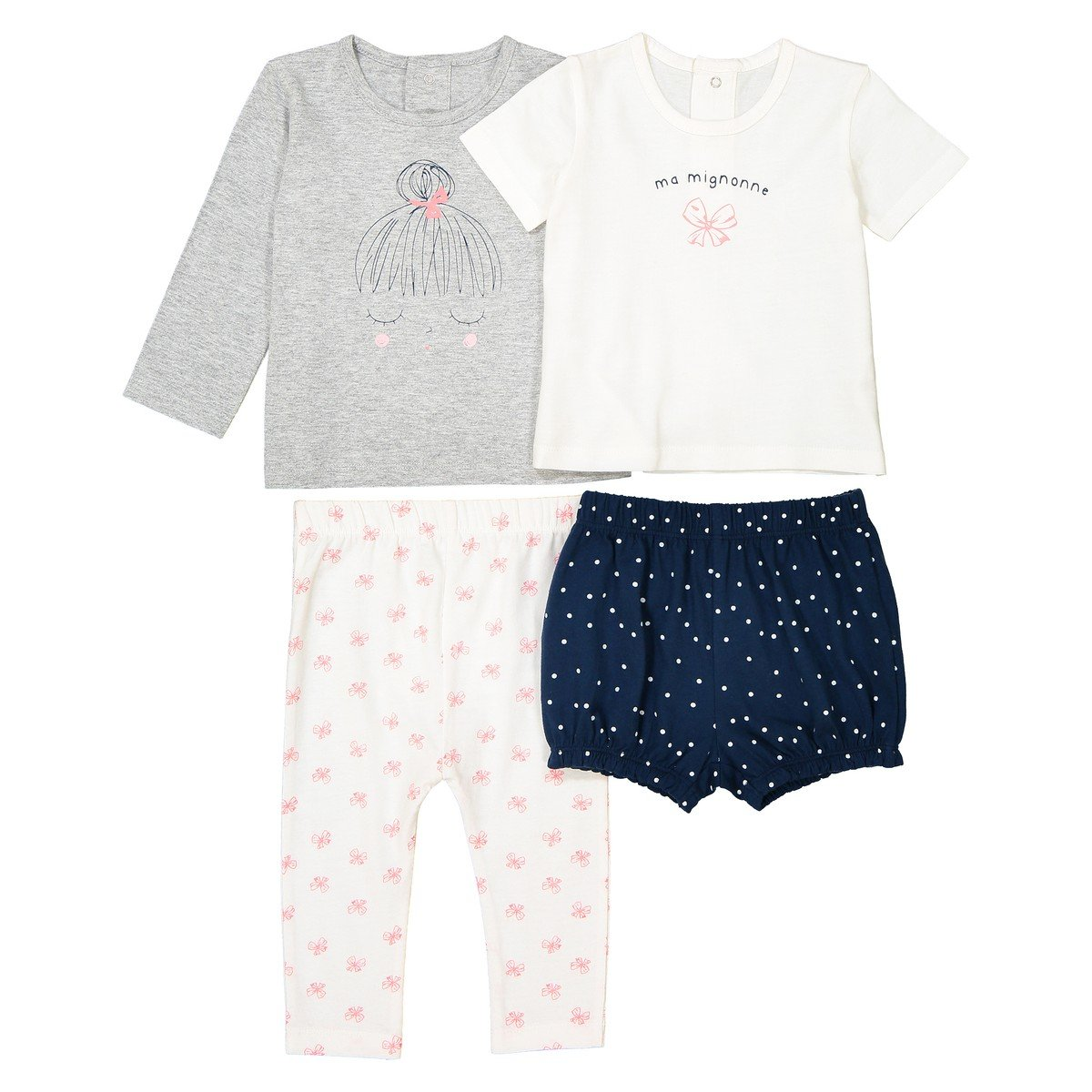 La Redoute Collections Big Girls Pack Of 2 Printed Cotton Pyjamas, Birth-3 Years Blue Size 6 Months - 26 In.