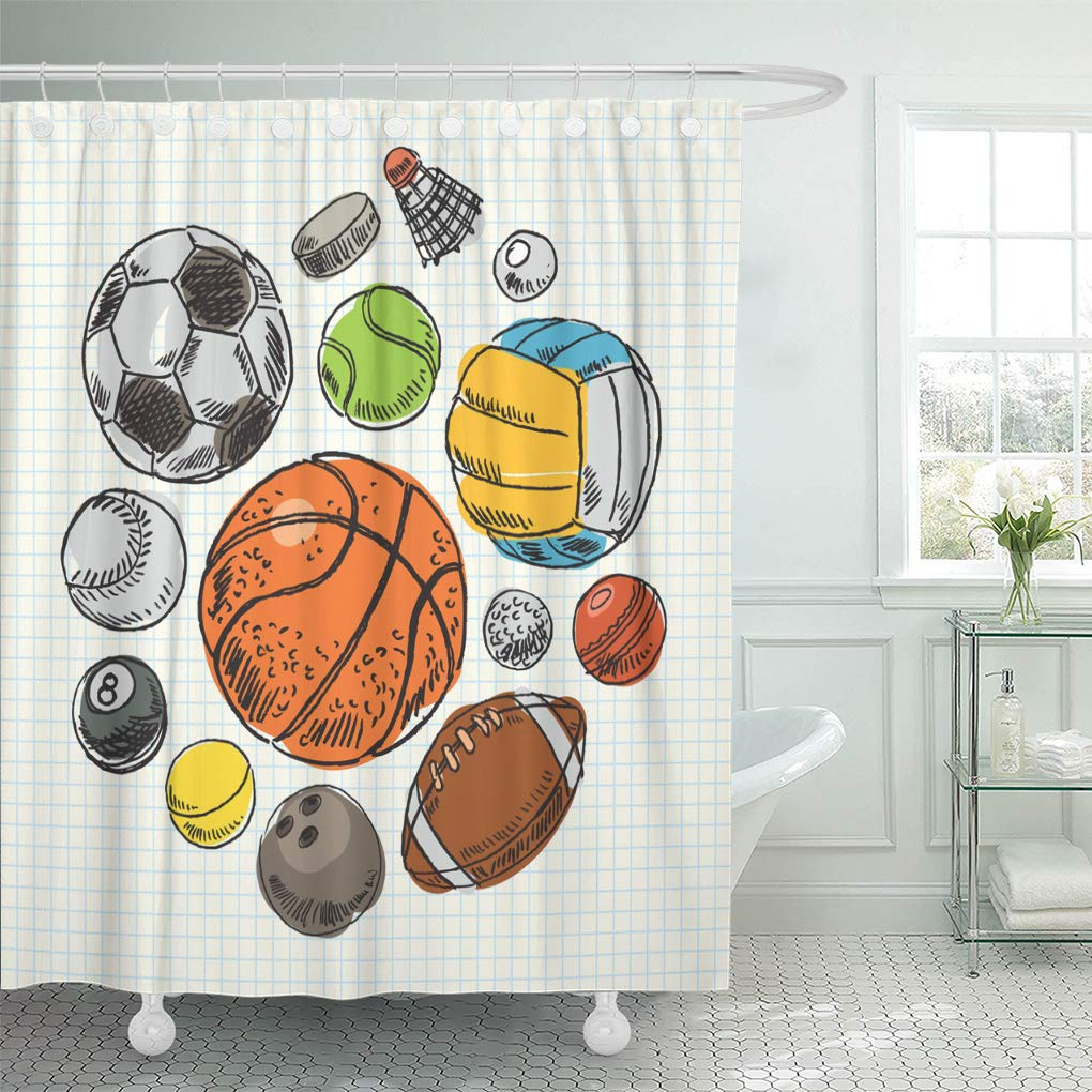 Amazon Emvency Shower Curtain Sketch Freehand Drawing Sport Balls Football Curtains Sets With Hooks 60 X 72 Inches Waterproof Polyester Fabric