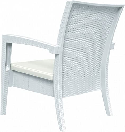Compamia Miami Resin Club Chair in White, Commercial Grade