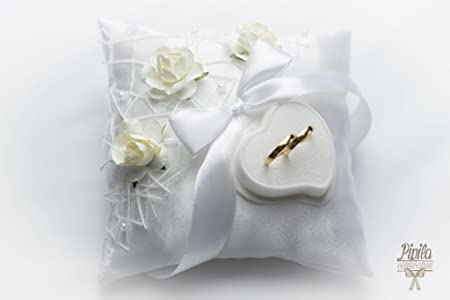 wedding ring pillow cushion engagement ring holder ivory roses