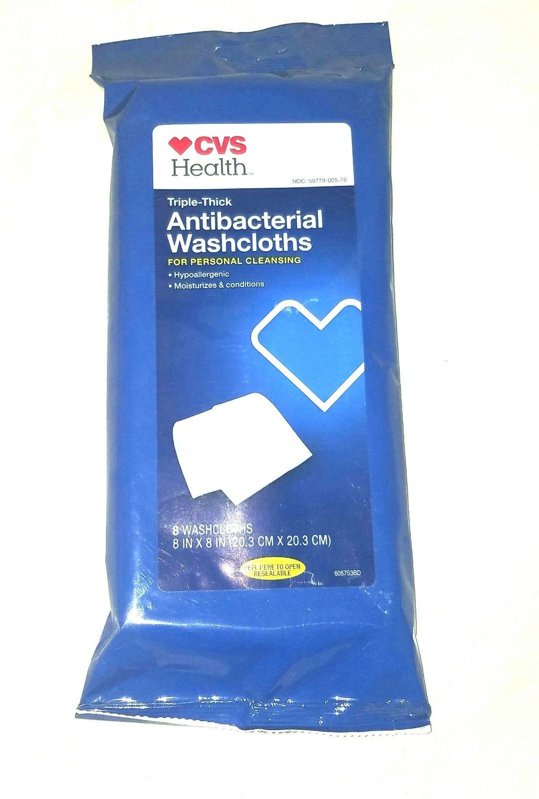 (6 Pack) Triple Thick 8X8 Antibacterial Personal Washcloths Bath 8 ct.