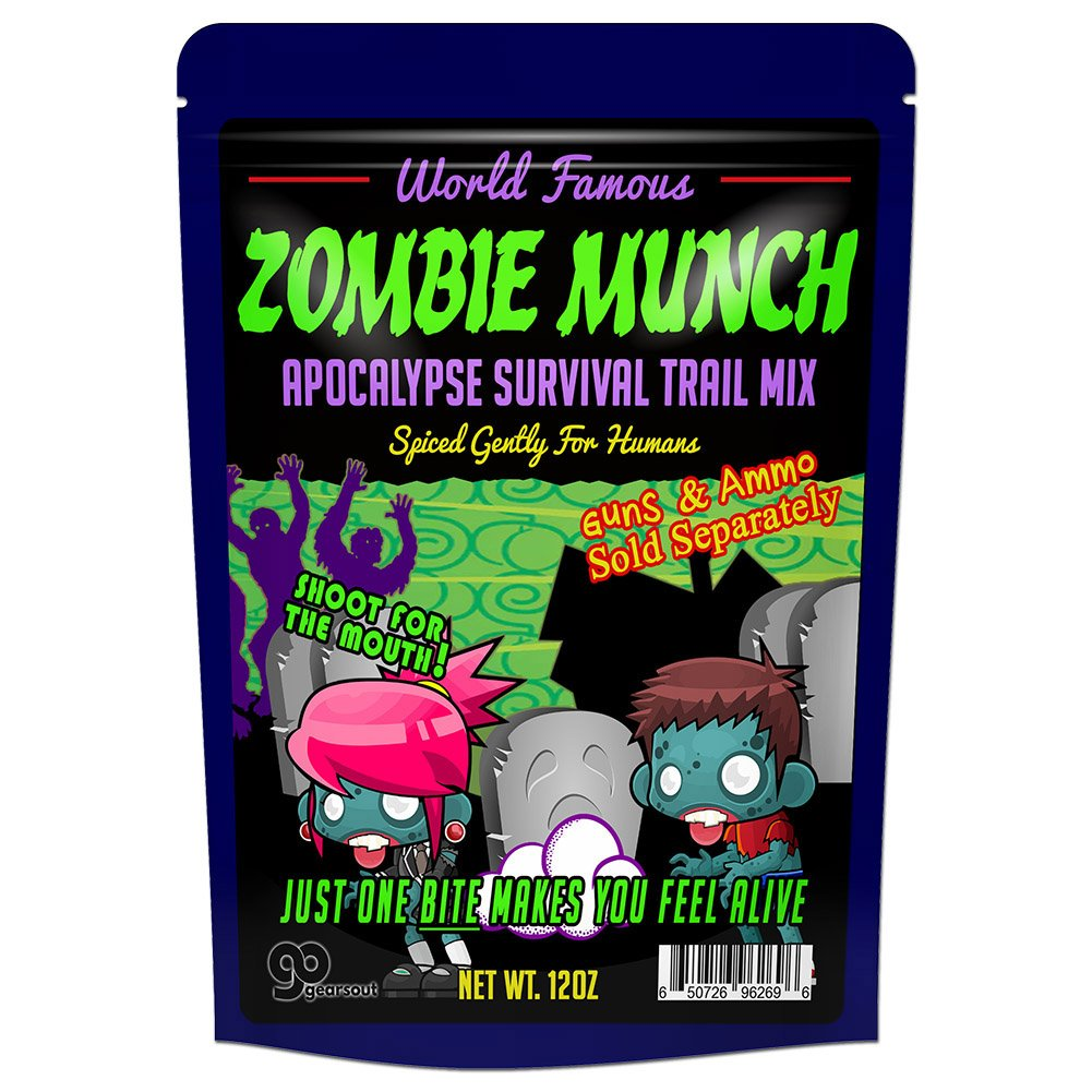 Zombie Munch Apocalypse Survival Trail Mix – Healthy Survivalist Gift Funny Trail Mix Gift Bag Resealable Funny Healthy Gifts Zombie Gifts Gag Gifts for Men Zombie Munch Trail Mix by Gears Out