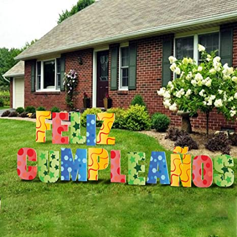 Amazon Com Happy Birthday Letters Yard Card 20 Inch Letters Includes Stakes Birthday Yard Signs Waterproof Corrugated Plastic Happy Birthday Spanish 13211 Health Personal Care