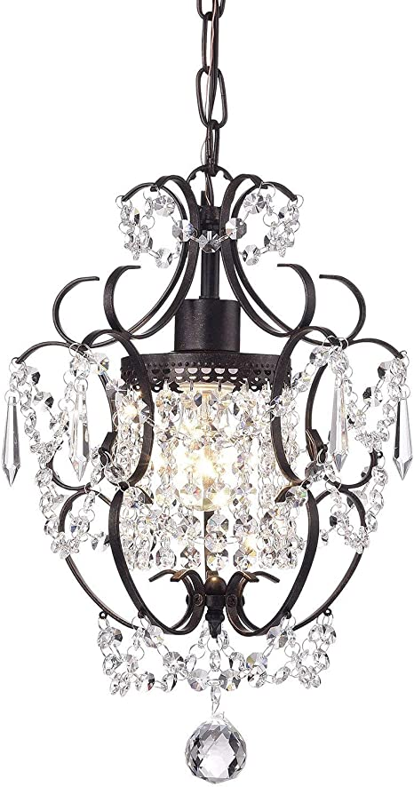 Glam Lighting Edvivi Lighting EPC5013AB Edvivi Amorette 1-Light Antique Bronze Finish Mini Pendant Chandelier Wrought Iron Ceiling Fixture