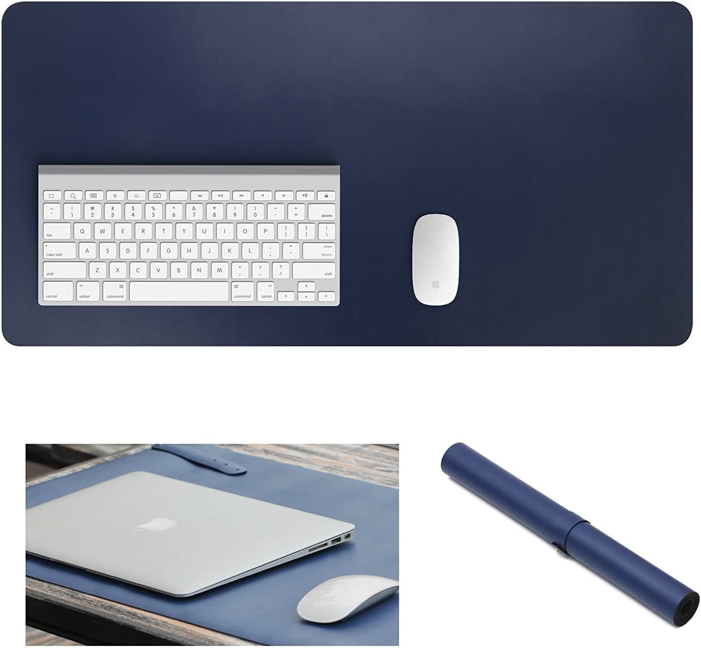 """Yikda Extended Leather Mouse Pad/Mat, Large Office Writing Gaming Desk Computer Leather Mat Mousepad,Waterproof,Ultra Thin 1.2mm - 31""""x15.5"""" (Blue)"""