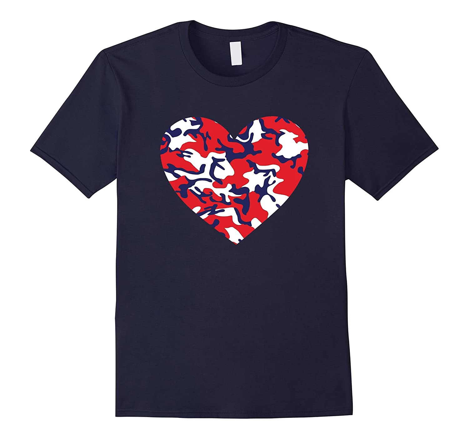 USA Red White and Blue Camo Heart Love 4th of July T-Shirt