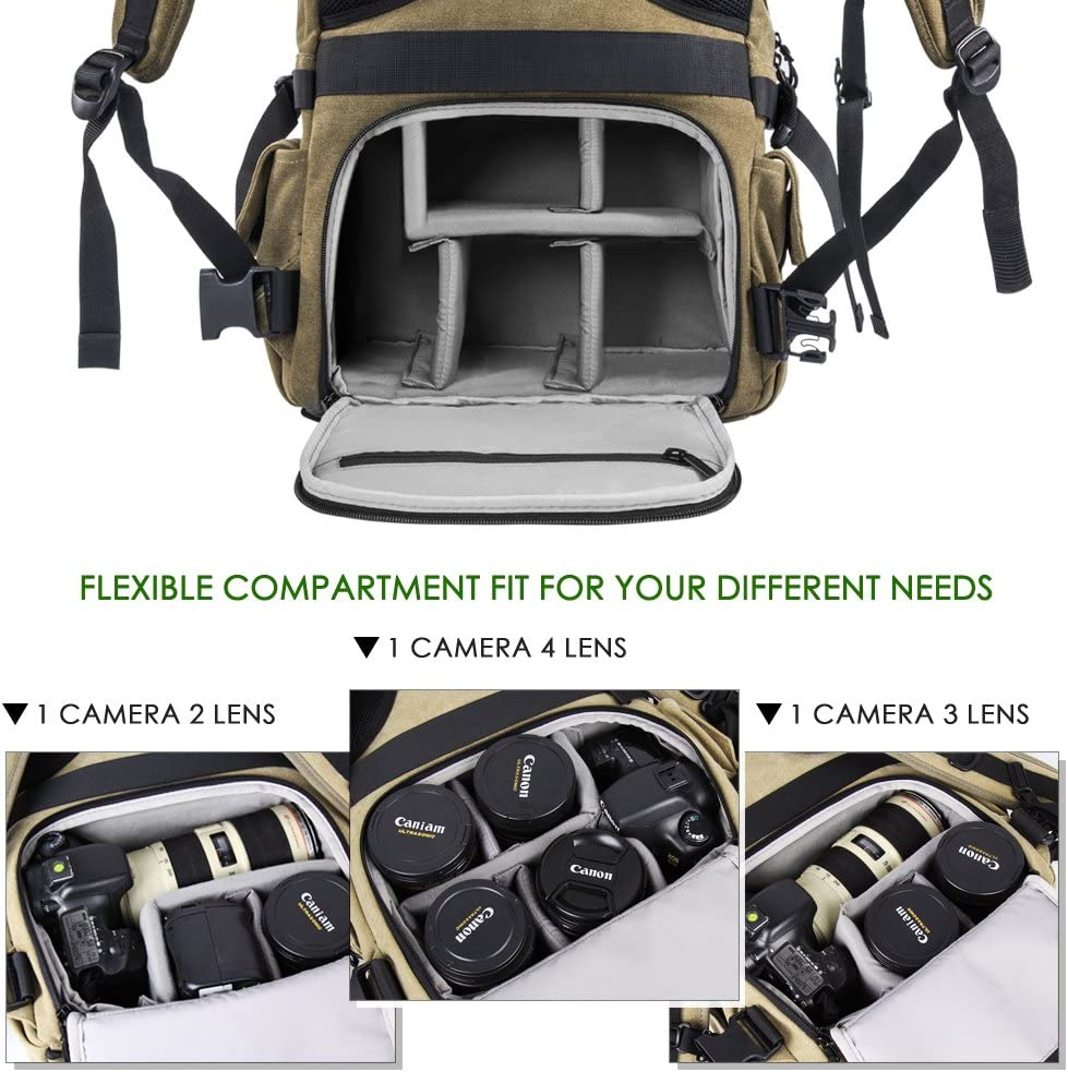 Laptop and Other Digital Camera Accessories with Rain Cover-Green for 1 DSLR 4xLens New Version Zecti Camera Backpack Waterproof Canvas DSLR Camera Bag