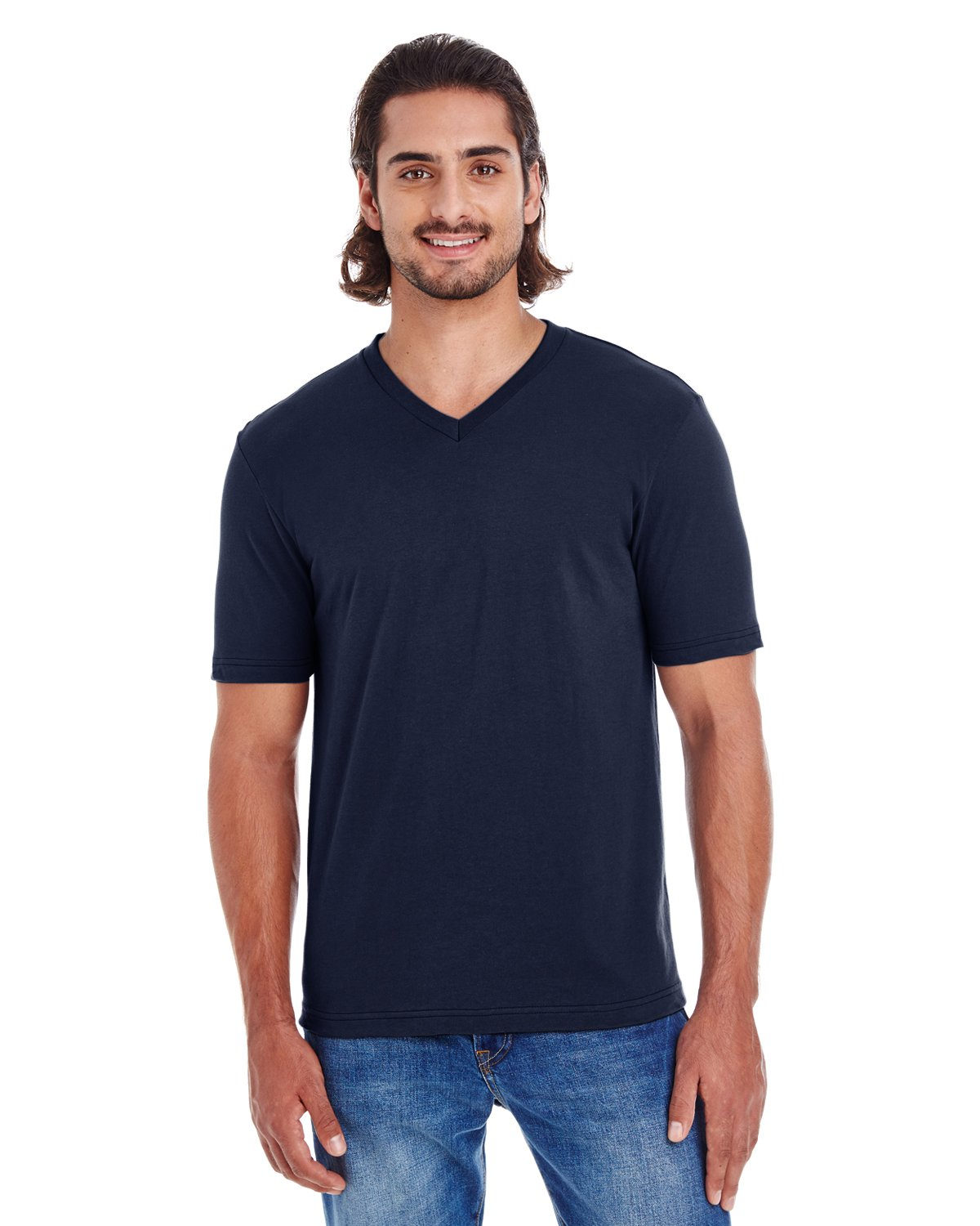 American Apparel 24321W Unisex Fine Jersey Short Sleeve Classic V-Neck Navy S by American Apparel (Image #1)