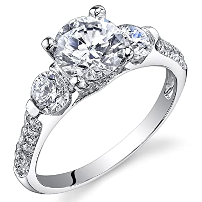 Revoni Sterling Silver 3 Stone Round Cut Simulated Diamond Engagement Ring  Size L,