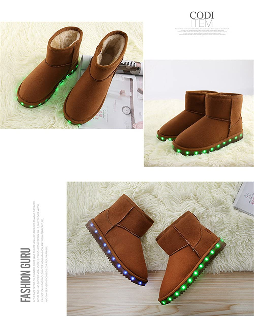 A2kmsmss5a Kids Boys Girls Led Light up Winter Shoes Luminous USB Charging Fur Lined Snow Boots Gifts