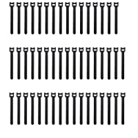 Pasow 50pcs 6-Inch Reusable Fastening Cable Ties Adjustable Strap Wire Management - Black