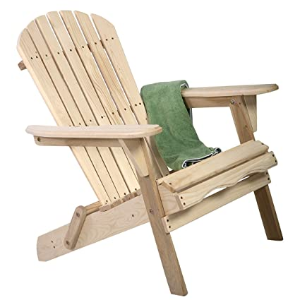 Bon Natural Wood Unfinished Adirondack Chair Outdoor Yard Patio Furniture  Folding