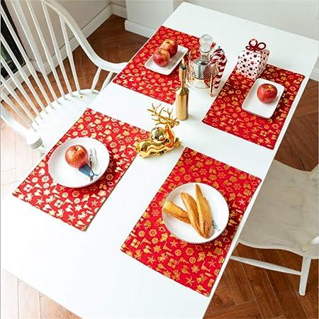 SONGHJ Borla de Lino de algodón Mantel Navidad Estampado en Caliente Cubierta de Mesa Fiesta de
