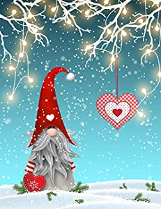 Christmas Gnome Tomte Standing On Snow Garden Flag House Banner 12 x 18 inch, Winter Heart Small Mini Decorative Double Sided Welcome Yard Flags for Holiday Wedding Party Home Outdoor Outside Decor