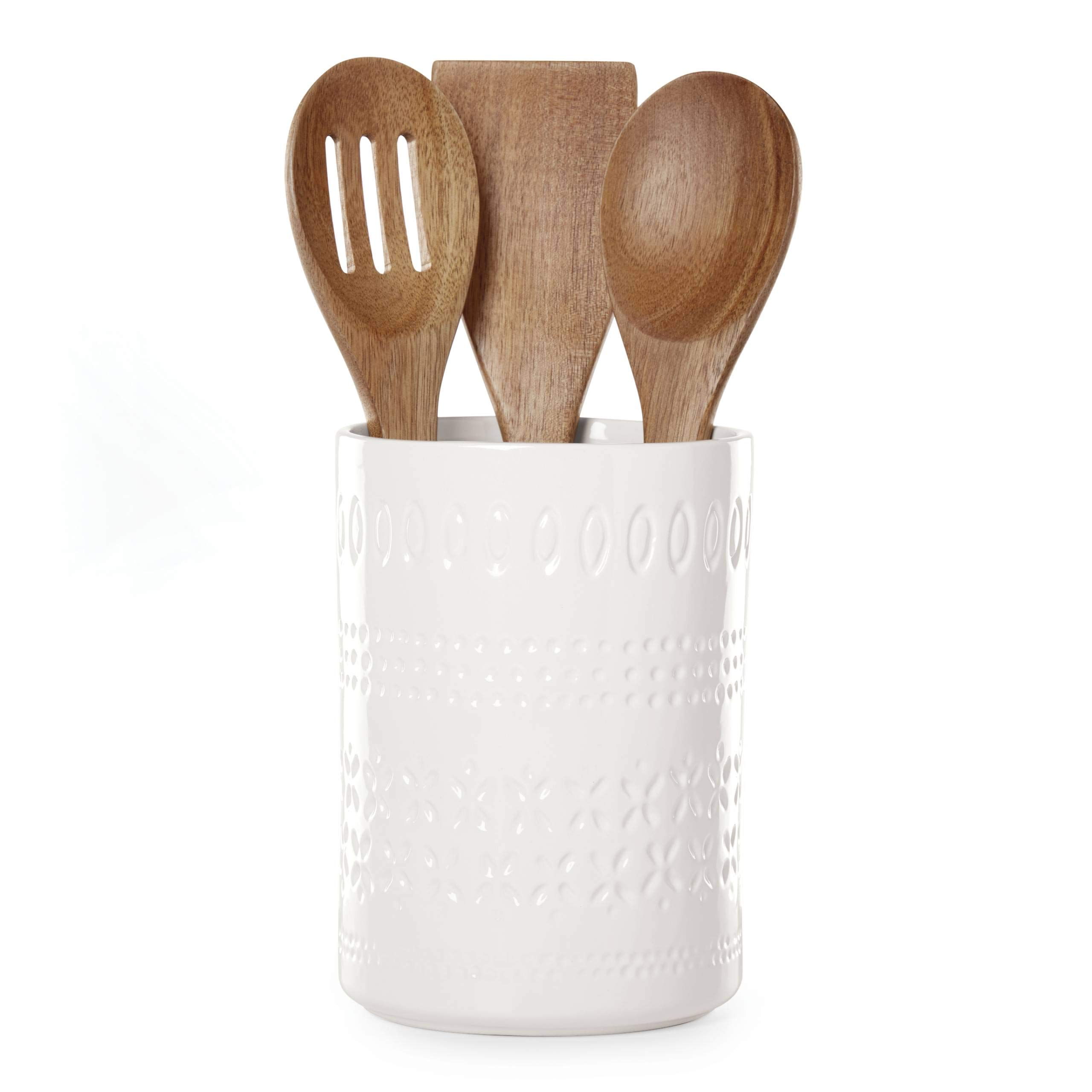 Kate Spade New York 886578 Willow Drive utensil crock, Cream by Kate Spade New York