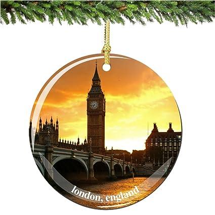 London Christmas Ornament Porcelain 2 75 Double Sided Big Ben Christmas Ornament British Souvenir