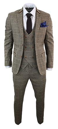 achat spécial dernière collection sélectionner pour le dédouanement Costume homme 3 pièces tweed à chevrons marron clair à carreaux coupe  ajustée gilet veston croisé