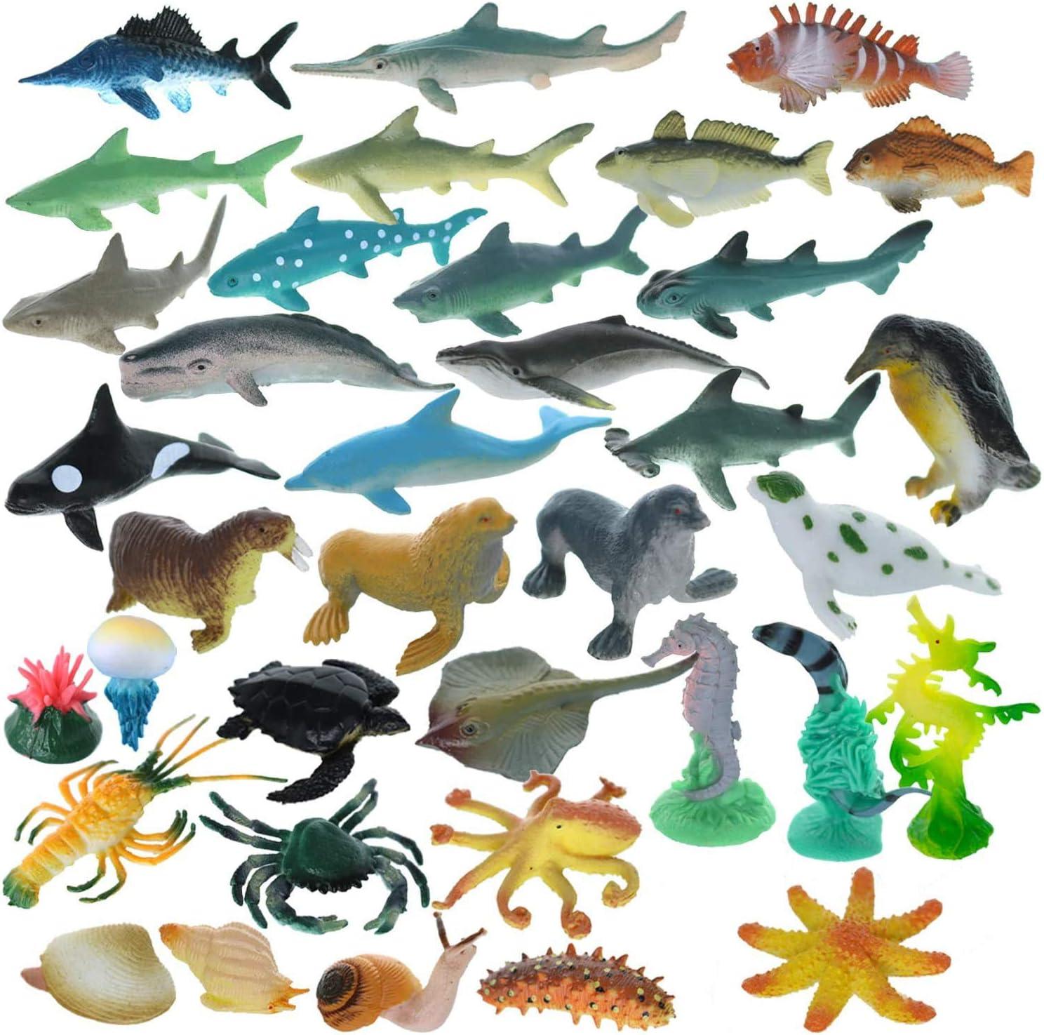 BESTZY 66pcs Animales de Juguete Mini Figuras Marinos Pl/ástico Fauna Submarina Realista para Jugar en el Ba/ño Fiesta Educativa Mar