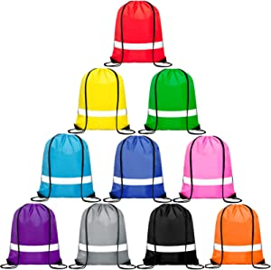 Vorspack Drawstring Backpacks Bulk 10 Pieces String Bags with Reflective Stripe